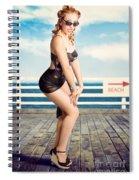 Cute Pinup Girl Looking Surprised On Beach Pier Spiral Notebook