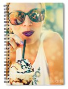 Cute Retro Girl Drinking Milkshake Spiral Notebook