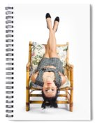 Cute Young Woman Sitting Upside Down On Chair Spiral Notebook
