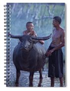 Dad And Child Happy To Live In The Countryside,thailand, Vietnam Spiral Notebook
