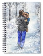 Dad And Child In The Winter Snow Spiral Notebook