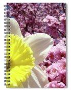 Daffodil Flower Art Prints Pink Tree Blossoms Blue Sky Baslee Spiral Notebook
