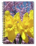 Daffodil Flowers Spring Pink Tree Blossoms Art Prints Baslee Troutman Spiral Notebook