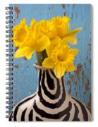 Daffodils In Wide Striped Vase Spiral Notebook