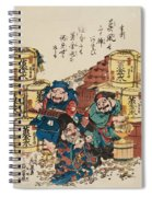 Daikoku Ebisu And Fukurokuju Counting Money Spiral Notebook