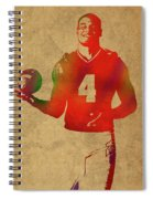 Dak Prescott Nfl Dallas Cowboys Quarterback Watercolor Portrait Spiral Notebook