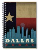 Dallas City Skyline State Flag Of Texas Art Poster Series 020 Spiral Notebook