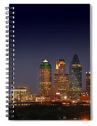 Dallas Skyline At Dusk Big Moon Night  Spiral Notebook