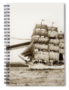 Danmark Sailing Under The Golden Gate Bridge San Francisco Spiral Notebook
