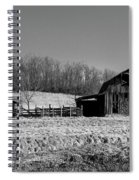 Days Gone By - Arkansas Barn In Black And White Spiral Notebook