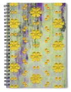 Decadent Urban Bright Yellow Patterned Purple Abstract Design Spiral Notebook