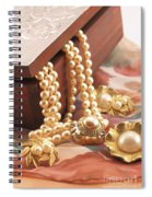 Decorated Carved Box In Aluminum And Pearl Necklace Spiral Notebook