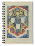 Decorative Design With The National Coat Of Arms, Flags And Banners, Carel Adolph Lion Cachet, 1874  Spiral Notebook