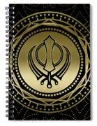 Decorative Khanda Symbol Gold On Black Spiral Notebook