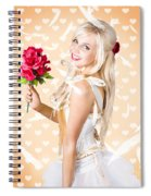 Delicate Young Woman Holding Flower Bunch Spiral Notebook