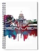Denver Skyline City Blue Spiral Notebook
