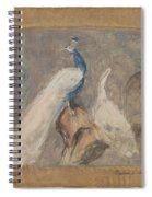Design For A Dessus De Porte Branch With Peacock And Other Birds, August Allebe, 1874 Spiral Notebook