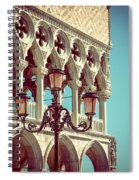 Detail Of Lamp And Columns In Venice. Vertically.  Spiral Notebook