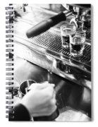 Detail Of Making Espresso Coffee With Machine Bw Spiral Notebook