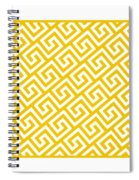 Diagonal Greek Key With Border In Mustard Spiral Notebook