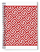 Diagonal Greek Key With Border In Red Spiral Notebook