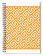 Diagonal Greek Key With Border In Tangerine Spiral Notebook