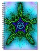 Digital Kaleidoscope Green Star 001 Spiral Notebook