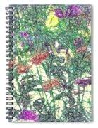 Digital Pencil Sketch Flowers Spiral Notebook