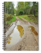 Dirty Autumn Road With Brown Pools After Rain Spiral Notebook