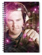 Disconnected Male Dj Holding Unplugged Audio Jack Spiral Notebook