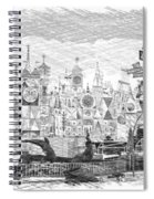 Disneyland Small World Panorama Pa Bw Spiral Notebook