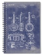 Dixie Banjolele Patent 1954 In Grunge Blue Spiral Notebook