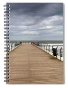 Dock With Benches, Saltburn, England Spiral Notebook