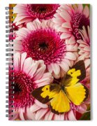 Dog Face Butterfly On Pink Mums Spiral Notebook