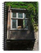 Dog In A Window Above The Canal In Bruges Belgium Spiral Notebook