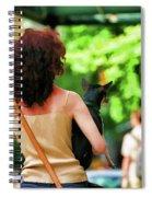 Dog Woman Walk Nyc Paint  Spiral Notebook