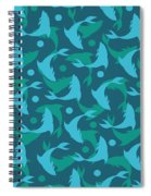 Dolphins In Blue  Spiral Notebook