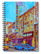 Downtown Montreal Street Rue Ste Catherine Vintage City Street With Shops And Stores Carole Spandau  Spiral Notebook