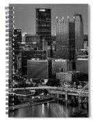 Downtown Pittsburgh At Twilight - Black And White Spiral Notebook