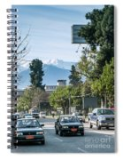 Downtown Street In Santiago De Chile City And Andes Mountains Spiral Notebook