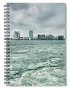 Downtown Windsor Canada City Skyline Across River In Spring Wint Spiral Notebook