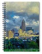 Dramatic Sky With Clouds Over Charlotte Skyline Spiral Notebook
