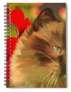 Dreamy Cat With Geranium 2015 Spiral Notebook