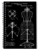Dress Form Patent 1891 Black Spiral Notebook
