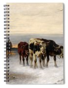 Driving The Herd Home In Wintry Landscape Spiral Notebook