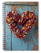 Dry Flower Wreath On Blue Door Spiral Notebook