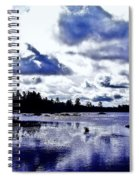 Duck Soars Little Togus Pond Storm Clouds Augusta Spiral Notebook