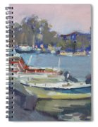 Dusk At Chalkoutsi's Harbor Greece Spiral Notebook