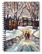 Original Montreal Paintings For Sale Winter Walk After The Snowfall Exceptional Canadian Art Spandau Spiral Notebook