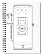 Early Telephone Line Drawing Spiral Notebook